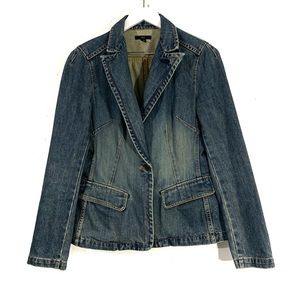 Gap Denim Button Up Fitted Blazer Jacket